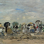 Картины с аукционов Sotheby's - Eugene Boudin - On the Beach of Trouville, 1874