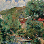 Sotheby's - Georges Manzana-Pissarro - Bank of the Seine at Andelys, the Hospice, 1935