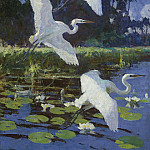 Herons and Lilies, 1934, Frank Weston Benson