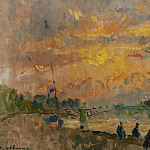 Картины с аукционов Sotheby's - Albert Lebourg - The Bridge of Saint-Peres at Paris, the Sunset