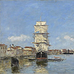Sotheby's - Eugene Boudin - Venice, the Vessel near the Landing-Stage. Canal de la Giudecca, 1895