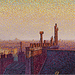 Картины с аукционов Sotheby's - Gustave Cariot - The Roofs of Paris, Sunset, 1899