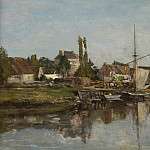 Sotheby's - Eugene Boudin - Village in Normandie on the Riverbank, 1858-62