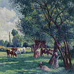 Sotheby's - Maximilien Luce - Bessy-sur-Cure, Peasants Looking for the Cows, 1906