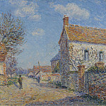 Sotheby's - Gustave Loiseau - The Street of Saint-Cyr, the Sun, 1900