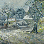 The Farm at Montfoucault, Snow, 1874, Camille Pissarro