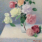 Картины с аукционов Sotheby's - Achille Lauge - Bouquet of Roses in the Glass