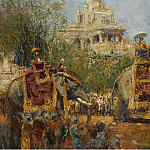 Картины с аукционов Sotheby's - Alfred Bastien - Maharaja and His Elephants at the Procession in the Festival of Dussehra at Mysore