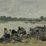 Картины с аукционов Sotheby's - Eugene Boudin - Laundresses at the Bank of the Touques, 1885-90