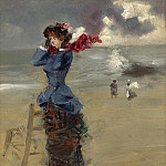 Sotheby's - Jean-Louis Forain - Elegant Woman at the Beach, 1885