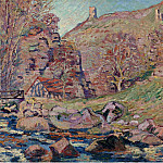 Картины с аукционов Sotheby's - Armand Guillaumin - The Ruins of the Crozant Castle and the Watermill, 1893