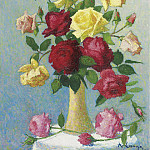 Sotheby's - Achille Lauge - Vase of Roses, 1924