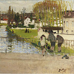 Sotheby's - Pierre-Eugene Montezin - Standing on the Bridge of Moret on Loing