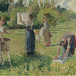 Sotheby's - Camille Pissarro - Laundresses at Eragny (study), 1901