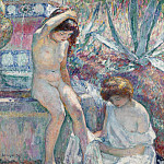 Saint-Tropez, Madame Lebasque and Marthe near Fountain, 1907, Анри Лебаск