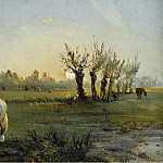 White Horse at the Meadow, 1856, Camille Pissarro