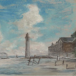 Sotheby's - Eugene Boudin - Honfleur. Seashore. Lighthouse and Vessel