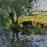 Sotheby's - Pierre-Eugene Montezin - Cows in the Willows Shade