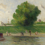 Sotheby's - Maximilien Luce - Surburb of Paris, the Bank of the Seine, 1930