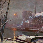 Sotheby's - Elie Anatole Pavil - The Quay of Tournelle at Sunset in Winter