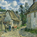 Sotheby's - Camille Pissarro - Paved Street at Valhermeil, Auvers-sur-Oise, the Cabins and the Cow, 1880