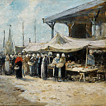 Trouville, Fishing Market, 1875, Эжен Буден