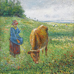 Shepherdess with a Cow, Cote des Grouettes, Pontoise, 1882, Camille Pissarro