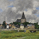 Quillebeuf, the Church on Grand Canal, 1893, Eugene Boudin