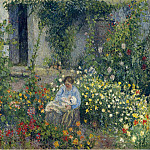 Julie and Ludovic-Rodolphe Pissarro among the Flowers, 1879, Camille Pissarro
