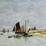 Картины с аукционов Sotheby's - Eugene Boudin - Etaples, Boats at the Port, 1876