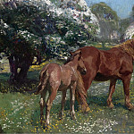Sotheby's - Alfred James Munnings - Mare and Foal in a Spring Meadow, 1909