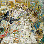 Картины с аукционов Sotheby's - Lucien Adrion - The Dinner of Artists Making up by Monsieur and Madame Paul Petrides, 1937