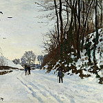 the Road to the Farm Saint-Simeon in Winter, 1867, Клод Оскар Моне