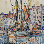Картины с аукционов Sotheby's - Paul Signac - Port of La Roshelle, 1920