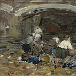 Sotheby's - Eugene Boudin - Laundresses near the Bridge, 1885-90