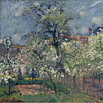 The Garden of Maubuisson, Pontoise. Pear Trees in Bloom, 1877, Camille Pissarro
