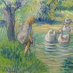Картины с аукционов Sotheby's - Camille Pissarro - The Shepperdess and the Geese, Eragny, 1890