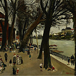 Картины с аукционов Sotheby's - Lucien Adrion - Cafe by the Seine