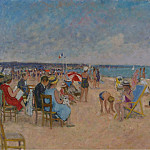 Картины с аукционов Sotheby's - Francois Gall - The Gall Family at the Beach of Trouville, 1970