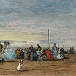 Scene on the Beach, Trouville, 1864, Эжен Буден