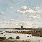 Картины с аукционов Sotheby's - Eugene Boudin - Saint-Vaast-la-Hougue, the Rocks and the Fort, 1892