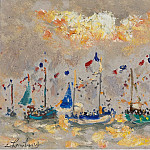 Картины с аукционов Sotheby's - Andre Hambourg - The Boats at Hollyday, 1973