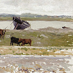 Sotheby's - Henri Le Sidaner - The Cows near an Old Boat, Etaples, 1887