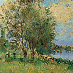 Картины с аукционов Sotheby's - Albert lebourg - The Figures on the Riverbank