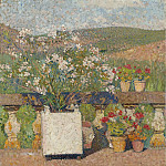 Sotheby's - Henri Martin - Flower Box with Rose-Bush and Pots with Geranium on the Terrace of Marquayrol in Summer