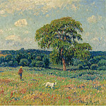 Sotheby's - Henry Moret - Landscape with a Hunter and His Dog, 1901