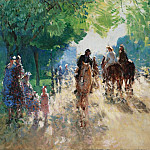 Sotheby's - Pierre-Eugene Montezin - The Forest of Boulogne, the Alley with Horsemen