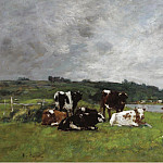 Cows at the Pasture, 1880-85 02, Эжен Буден