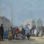 Sotheby's - Eugene Boudin - Scene on the Beach at Trouville, 1864