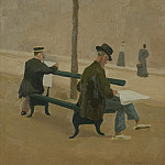 Sotheby's - Charles Lacoste - Reading Men on a Bench and Women Passing By, 1893